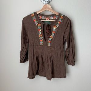 Free People brown embroidered blouse
